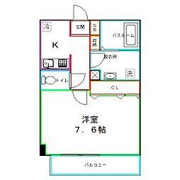 JR中央本線 武蔵境駅 徒歩12分の賃貸マンション 2階1Kの間取り