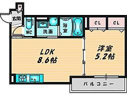 ピレーネ近江堂 1階1LDKの間取り