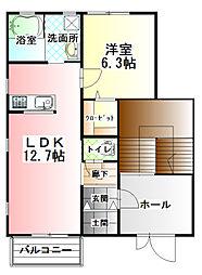 カーサ・ソラーナ A棟[2階]の間取り