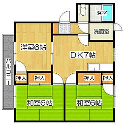 京都府京都市山科区西野山階町の賃貸アパートの間取り