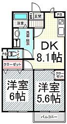 長野県長野市上松1丁目の賃貸アパートの間取り
