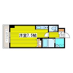 札幌市営南北線 北18条駅 徒歩10分の賃貸マンション 7階1Kの間取り