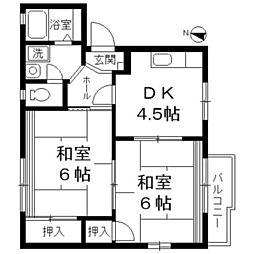 神奈川県相模原市南区東林間4の賃貸アパートの間取り