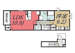 京成本線 ユーカリが丘駅 徒歩3分の賃貸アパート 2階1LDKの間取り