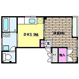 兵庫県神戸市灘区桜口町3丁目の賃貸マンションの間取り