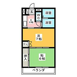 愛知県名古屋市緑区滝ノ水5の賃貸アパートの間取り