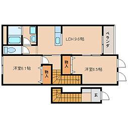 近鉄天理線 二階堂駅 徒歩14分の賃貸アパート 2階2LDKの間取り