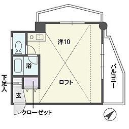 クレ−ル平和[5階]の間取り