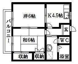 メゾン西伝寺B[1階]の間取り