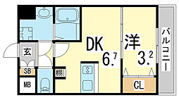 JR東海道・山陽本線 新長田駅 徒歩3分の賃貸マンション 6階1DKの間取り