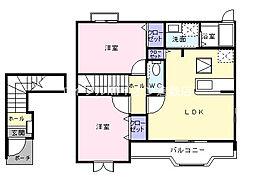 岡山県浅口市金光町佐方の賃貸アパートの間取り