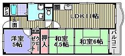 フローラル岸和田[502号室]の間取り