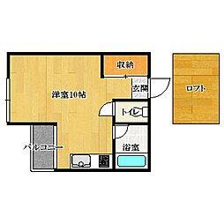 福岡県福岡市中央区荒戸1丁目の賃貸アパートの間取り