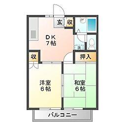 埼玉県所沢市下安松の賃貸アパートの間取り