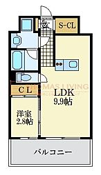 福岡市地下鉄空港線 大濠公園駅 徒歩3分の賃貸マンション 8階1LDKの間取り