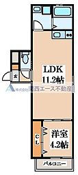 (仮称)東大阪市稲田上町1丁目計画 3階1DKの間取り