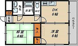 Osaka Metro今里筋線 鴫野駅 徒歩10分の賃貸マンション 8階2DKの間取り