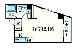 レシア六甲 7階ワンルームの間取り
