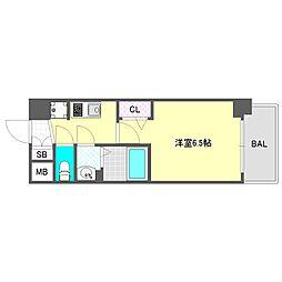 プレサンス大阪ドームシティスクエア 5階1Kの間取り