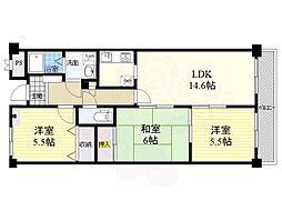 阪急千里線 千里山駅 徒歩15分の賃貸マンション 3階3LDKの間取り