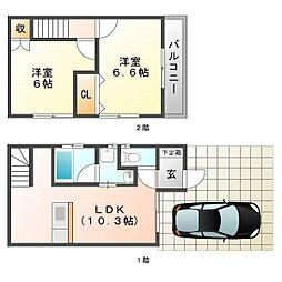 [テラスハウス] 福岡県福岡市博多区那珂5丁目 の賃貸【/】の間取り