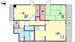 中4マンション[403号室]の間取り