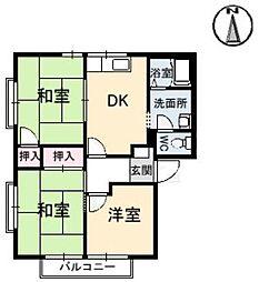 広島県福山市南松永町1丁目の賃貸アパートの間取り
