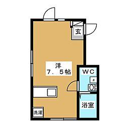 ウィング糀谷 4階ワンルームの間取り