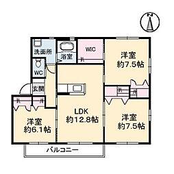 徳島県板野郡北島町太郎八須字新堀の賃貸アパートの間取り