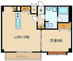 兵庫県伊丹市中央4丁目の賃貸マンションの間取り