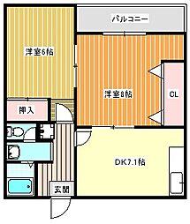 シダーコート[A-1号室]の間取り
