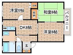 兵庫県神戸市須磨区天神町2丁目の賃貸アパートの間取り