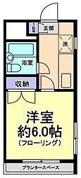 東京都国立市北2の賃貸マンションの間取り