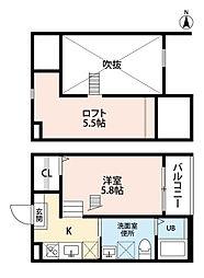 愛知県名古屋市港区七番町3丁目の賃貸アパートの間取り