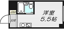 エクラ関目イースト 6階ワンルームの間取り