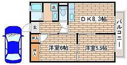 兵庫県神戸市須磨区離宮西町1丁目の賃貸アパートの間取り