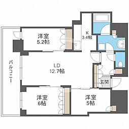ブランズタワー梅田North(ブランズタワー梅田ノース) 32階3LDKの間取り