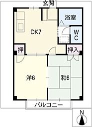 ドミール新守[2階]の間取り