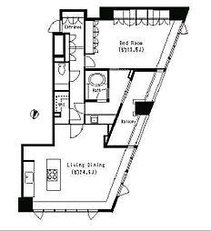 JR山手線 目黒駅 徒歩5分の賃貸マンション 16階1LDKの間取り