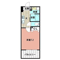 LE GRAND BLEU HAKATA 3階1Kの間取り