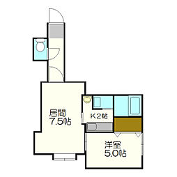 北海道札幌市白石区平和通17丁目の賃貸アパートの間取り