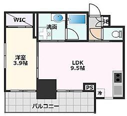 ノルデンタワー江坂プレミアム 18階1LDKの間取り