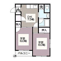 東京都江戸川区西葛西6丁目の賃貸アパートの間取り