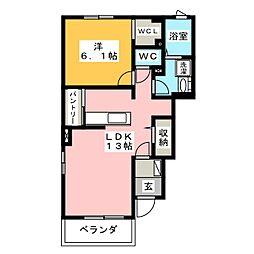 静岡県焼津市田尻北の賃貸アパートの間取り