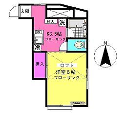 ビラサンプラスB棟[2階]の間取り