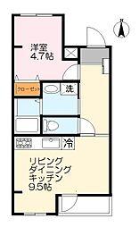 JR南武線 久地駅 徒歩10分の賃貸マンション 1階1LDKの間取り