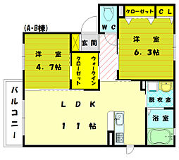 ボンシャンス2[1階]の間取り