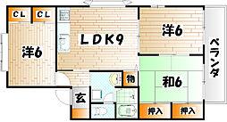 福岡県北九州市小倉南区星和台1丁目の賃貸アパートの間取り
