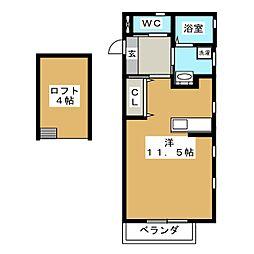 ティアレ湘南 1階ワンルームの間取り