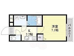 JR東西線 加島駅 徒歩3分の賃貸アパート 2階1Kの間取り
